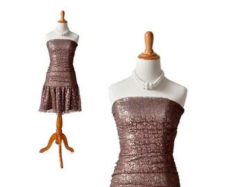 Betsey Johnson Dress, Brown Dress Bronze Dress XS Dress Size 2 Dress, Size 0 Dress, 1980s Dress 80s Dress 1980s Party Dress 80s Party Dress
