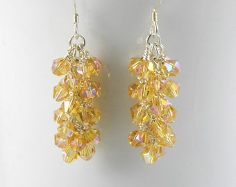 Gold Crystal Dangle Earrings with Sterling Silver Ear Wires