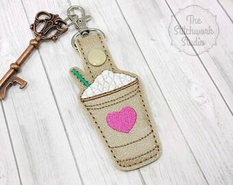 Iced Coffee Keychain - Key Fob - Frap - Glitter