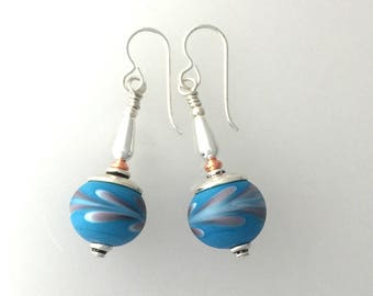 Lamp Work Glass and Sterling Silver Earrings. #4