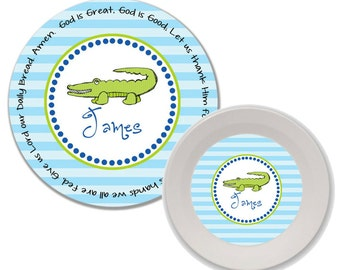 Personalized Melamine Plate and Bowl Set - Mealtime Set - Melamine Set - Childrens Dinnerware - Kids Plate and Bowl Set - Alligator Boy