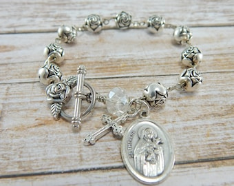 Catholic Rosary Bracelet, St Therese, Vintage Rosary Beads, Vintage Jewelry, Religious gift, Christian jewelry, Confirmation gift for her