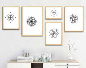 Geometry Shapes and Lines, Abstract printable art, gift ideas, home decoration wall art, digital download, print at home, 73-81
