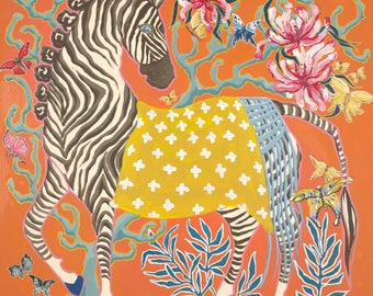Zebra on Orange LEFT FACING Art Print by Paige Gemmel