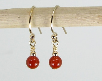 Very Tiny Carnelian and Gold Earrings
