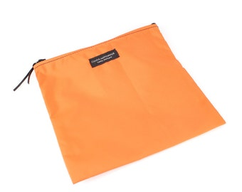8x8 inch Orange basic nylon zipper pouch -- use for travel, snacks, cosmetics, a tool bag, photo-video gear, and more!