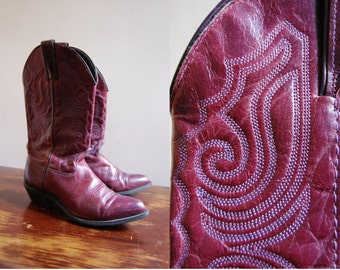 RESERVED Vintage 1970s Leather Oxblood Riding Cowboy Boots