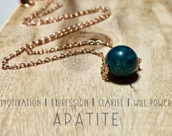 Apatite Necklace. Delicate Crystal Necklace. Mood-Boosting Jewelry. Crystal Healing.