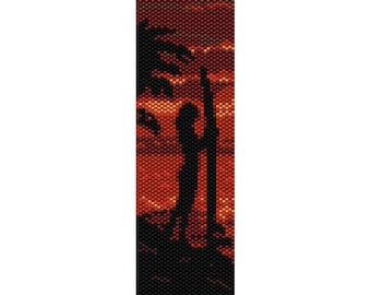 Sunset Surfer Peyote Bead Pattern, Bracelet Cuff, Bookmark, Seed Beading Pattern Miyuki Delica Size 11 Beads - PDF Instant Download