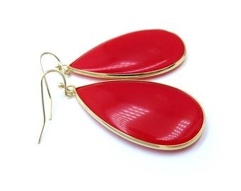 Red Drop Gold Earrings