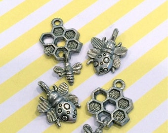Collection of HoneyComb and Bees  - 4 pieces-(Antique Pewter Silver Finish)