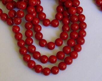 10 round bright red beads, 10 mm diameter, mashan jade stone