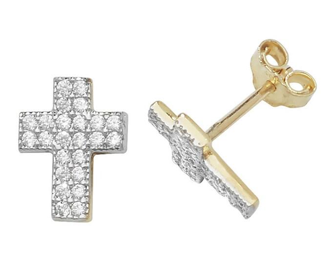 9ct Yellow Gold Pave Cz Crucifix Cross Stud Earrings 8x6mm