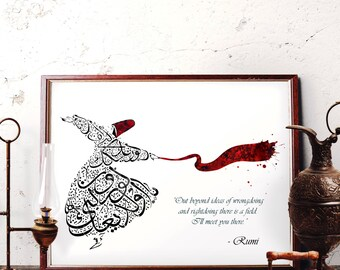 Mevlana Calligraphy Watercolor Art, Rumi Quotes Wall Art, Whirling Dervish Home Decor, Sufi Red Hat, Scarf, Semazen Islamic Art, Horizontal