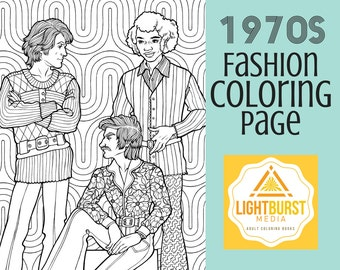 Adult Coloring Page - 1970s Men's Fashion Coloring Page - Printable Coloring Page