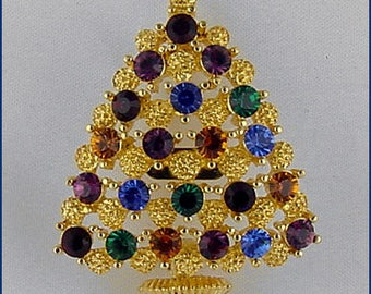 Eisenberg Ice Christmas Tree Pin,Gold Tone Christmas Tree Pin,Eisenberg Christmas Tree Pin with Multi Color Rhinestones (Inventory #J987)