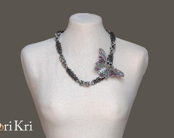 Silver butterfly short necklace steampunk butterfly chain necklace gift for her. Short butterfly necklace ooak jewelry