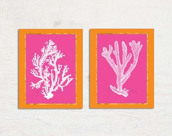 Coral Wall Art, Coral Prints, Pink Orange Art Print Set, Pink Coral Wall Art, Preppy Wall Art, Palm Beach Chic Orange Pink Coral