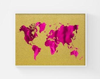 Printable World Map, Metallic Pink, World Map Poster, Glitter Art, Map of the World Map Art, Gold Wall Art, Glam Fashion Poster, Teen Art