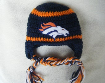 Crocheted Bronco's Inspired Team Colors or (Choose your team)  Football Helmet Baby Beanie/hat - Made to Order - Handmade by Me