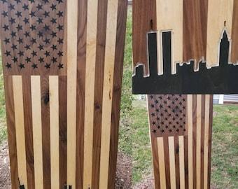 Vertical Hardwood America Wooden American Flag