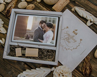 custom set of 12 - (save 3 dollars per box) 4x6 Wood print box with enough space for prints and usb drive (32gb option) - square