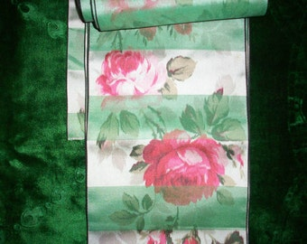 1 yd. of  Antique watered silk  french ribbon with roses yardage