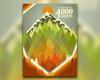 New Hampshire 48 4000 Footers • New England Print • Appalachian Mountain Club, NH • Hiking Decor Poster • Wall Art Graphic Design