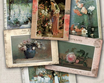 75% OFF SALE Vintage ATC catds Postcard Painting - Digital collage sheet, Printable Download, Digital Tags, Digital Image, Vintage Card