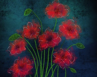 Abstract Fire Red Blossoms
