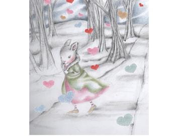 Valentine bunny greeting card