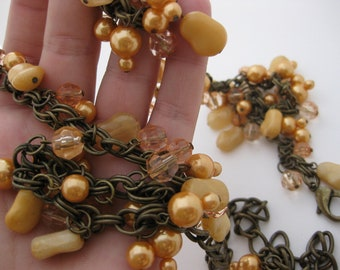 Peachy Keen Antiqued Bronze Chainmaille Double Link Gemstone Metal Belt w/Peach Glass Pearls Beads Stones & Acrylic Crystals Belly Chain