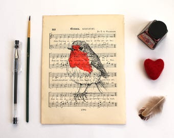 Robin Print, Bird Screen Print on Vintage Music Book Page