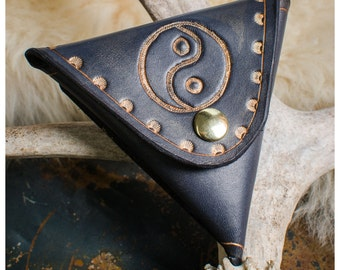 Black yin yang leather coin purse