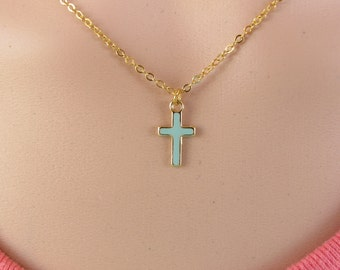 Gold cross necklace,cross pendant with  Turquoise enamel - tiny cross necklace