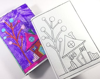 Blank Book -Color it yourself -mini journal - notebook - traveling with kids - quiet books - customized mini notebook cover and journal
