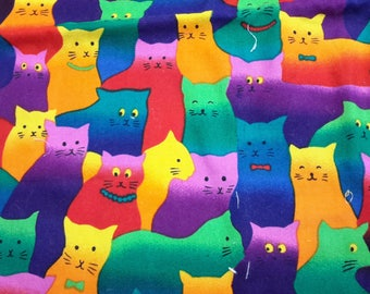 "Whimsical Cats, Colorful, Crazy, Felines, Hi-Fashion, Fabric, Multi Color, Quilting, Quilt Square, Sew DIY 100% Cotton Crafts Sewing 36""x42"""