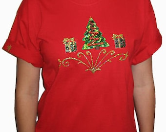 Sequin Christmas Tree with Packages Shirt Unique Custom Women's Cute Fun Hand painted Bling T shirt Cindy's Handmade Shirts Boutique