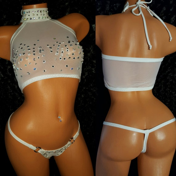 High End Rhinestone and Power-net Stripper Outfit, See-through Adjustable with thong any color Exotic Dance-wear