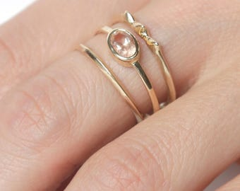 14k Sunstone Rising Tide Ring Set  | 14k Gold Ring Set |  Oregon Mined Sunstone