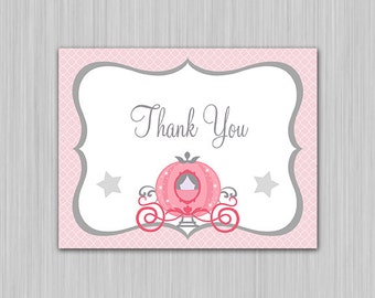 Princess Carriage Pink and Gray Silver Printable Baby Shower Thank You Note Card  U Print yourself