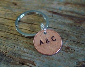 Penny Keychain, Year of Choice, Personalized Anniversary Gift, Hand Stamped Couples Initials, Stamped Penny Key Chain, 1st Anniversary Gift