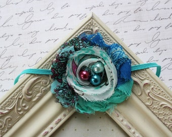 Peacock Chiffon flower headbands, newborn headbands, baby headbands, chiffon headbands, photography prop