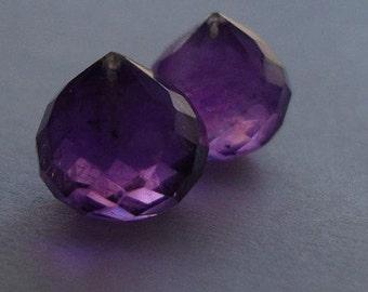 Royal Purple AMETHYST Micro Faceted Onion Briolette, 8-8.5mm, 2 pcs