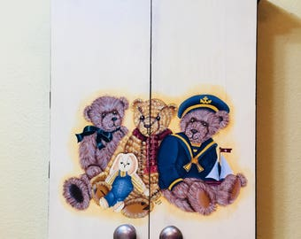 Hand Painted THREE BEARS Medicine Chest Perfect for a Young Child's Bathroom