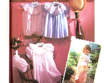 90's Simplicity 7135 Oliver Goodin Toddlers' Dress and Romper in Two Lengths and Bonnet, Uncut, Factory Folded Sewing Pattern Size 1-4
