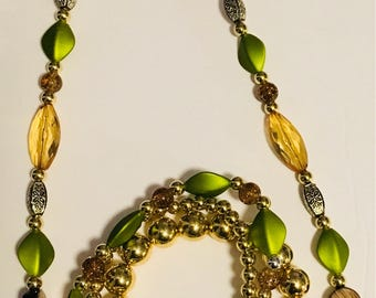 One Strand Army Green, brown, and gold mix beaded necklace