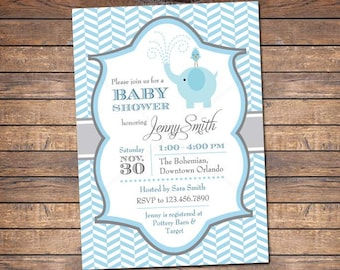 Elephant Baby Shower Invites, Boy Baby Shower Invitations, blue, digital boy invite, printable file, printable party packages available
