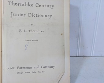 Thorndike Century Junior Dictionary Revised Edition Book ©1942 - First Revision Dictionary A Child's Dictionary of the English Language Book