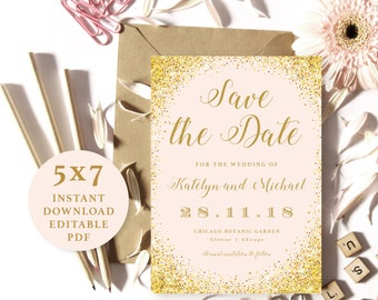 Pink and Gold Sparkling, Save the Date Template, 5x7, Instant Download Printable, Editable PDF, EWSD001